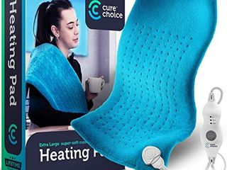 Cure Choice large Electric Heating Pad for Back Pain Relief   Storage Pouch  Ultra Soft 12 x24  Heating pad for Muscle Cramps   Heated Pad with Adjustable Temperature Settings  Purple