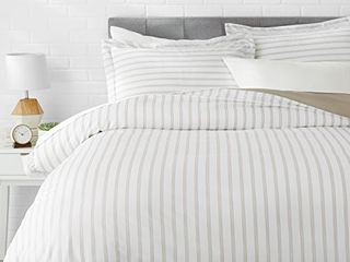 Amazon Basics light Weight Microfiber Duvet Cover Set with Snap Buttons   King  Taupe Stripe