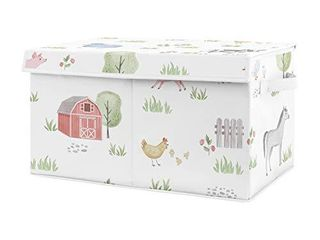 Sweet Jojo Designs Farm Animals Boy or Girl Small Fabric Toy Bin Storage Box Chest for Baby Nursery or Kids Room   Watercolor Farmhouse Horse Cow Sheep Pig