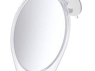 HoneyBull Shower Mirror for Shaving Fogless with Suction  Razor Holder   Swivel  White