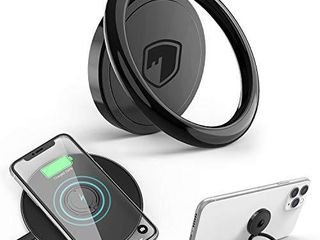 Phone Ring Holder Wireless Charging Compatible   FITFORT 360 Rotation Anti Scratch Ceramic Ring Grip Compatible with All Wireless Charging Cell Phones Black