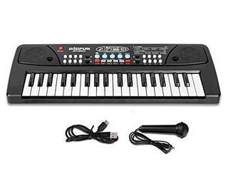M SANMERSEN Kids Keyboard Piano 37 Keys Piano for Kids Electronic Piano Keyboard with Microphone learning Music Keyboard Piano for Girls Boys Beginners Age 3 8 Years Old
