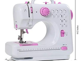 Sewing Machine Mini Portable Electric Portable Household Overlock 12 Built in Stitches with Foot Pedal for Amateurs Beginners Embroidery Pink Safety