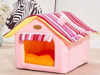 ShellKingdom Dog House  Foldable Pet Cat and Dog Bed with Cushion Pet Puppy Indoor House Pink