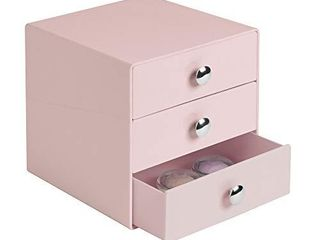 iDesign Plastic 3 Drawer Jewelry Box  Compact Storage Organization Drawers Set for Cosmetics  Dental Supplies  Hair Care  Bathroom  Office  Dorm  Desk  Countertop  6 5  x 6 5  x 6 5  Pink