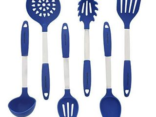 Blue Kitchen Utensil Set   Stainless Steel   Silicone Heat Resistant Professional Cooking Tools   Spatula  Mixing   Slotted Spoon  ladle  Pasta Fork Server  Drainer   Bonus Ebook