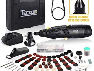 Cordless Rotary Tool  TECCPO 12V Powerful Rotary Tool Kit  1 Hour Fast Charger  Universal Keyless Chuck  6 Speeds Adjustable  80 Accessories  Perfect Gift for DIY   Crafts  Cutting  Engraving  etc
