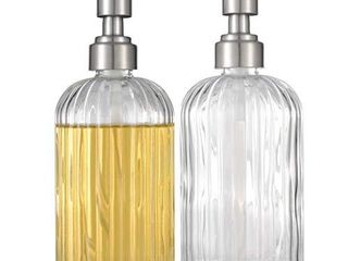 Syellowafter 1 2 Pack Thick Glass Soap Dispenser  2 Pack Clear