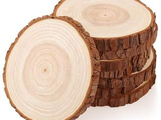 Fuyit Wood Slices 8 Pcs 5 1 5 5 Inches Unfinished Natural Tree Slice Wooden Circle with Bark log Discs for DIY Arts and Craft Rustic Wedding Christmas Ornaments