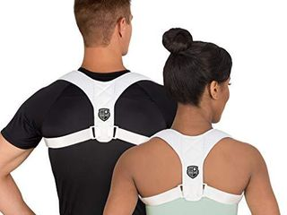 Swiss Safe Posture Corrector for Men Women   Stylish   Discreet Ergonomic Back Straightener Brace for Proper Posture   Spinal Pain Relief  White  Small Size