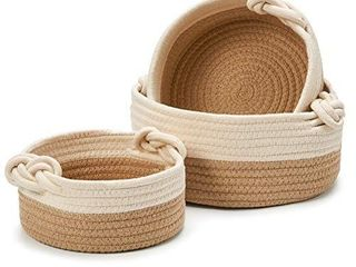 EZOWare Set of 3 Decorative Soft Knit Baskets Bins Storage Organizer  Perfect for Storing Small Household Items   Beige and Brown
