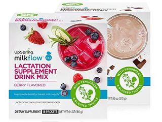 UpSpring Milkflow Fenugreek and Blessed Thistle Drink Mix  Combo Berry and Chocolate  One Box Each  36 Count Packets  lactation Supplement for Breastfeeding Moms