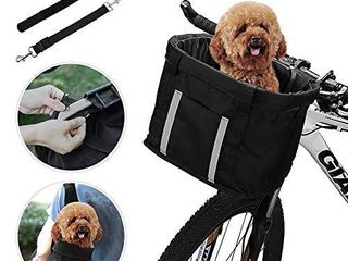 ANZOME Dogs Carrier Bike Basket  Handlebar Basket Folding Front Removable wiht Adjust Dog Seatbelts Bicycle Baset Quick Release Easy Install Detachable Cycling Bag Mountain Picnic Shopping