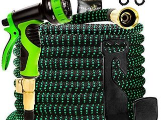 Yolobee Garden Hose 80 Feet  Expandable  lightweight  High Density 3750D Outer Fabric  Durable Double latex Core  Bundle with Spray Nozzle and Accessories  5 Items