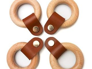4 Pcs leather Drawer Pull Wood Knobs Wood Cabinet Pulls with Natural leather Beech Wood Natural Colour with Brown leather  Adjustable length