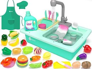 KIDPAR 38 Pcs Color Changing Kitchen Play Sink Toys for Kids Toddler Electric Dishwasher with Auto Running Water Cycle System Cutting Food Chef s Apron House Pretend Role Play Toys for Boys Girls