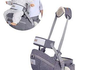 Baby Hip Seat Carrier Baby Waist Stool for Child Infant Toddler with Adjustable Strap Buckle Pocket Soft Inner Huge Storage  Dark Grey