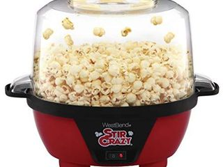 West Bend 82505 Stir Crazy Electric Hot Oil Popcorn Popper Machine Offers large lid for Serving Bowl and Convenient Storage  6 Quart  Red