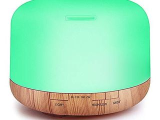 Essential Oil Air Mist Diffuser   500Ml Quiet Aroma Essential Oil Diffuser with Adjustable Cool Mist Humidifier Mode Waterless Auto off 7 Color lights Changing for Office Home Bedroom living Room