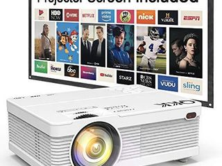 QKK Mini Projector 6500lumens Portable lCD Projector  100  Projector Screen Included  Full HD 1080P Supported  Compatible with Smartphone  TV Stick  Games  HDMI  AV  Projector for Outdoor Movies