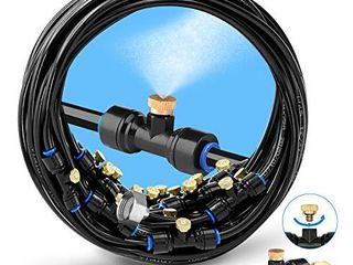 HOMENOTE Misting Cooling System 59FT  18M  Misting line   20 Brass Mist Nozzles   a Brass Adapter 3 4  Outdoor Mister for Patio Garden Greenhouse Trampoline for waterpark