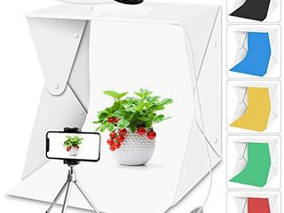 Portable Photo Studio light Box with lights for Product Food Photography  Aureday Mini Photo White Box   Flash lightbox with 6 Colors Backups  Shooting Tent with Mini Tripod
