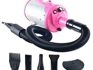 SHElANDY 3 2HP Stepless Adjustable Speed Pet Hair Force Dryer Dog Grooming Blower with Heater  Pink