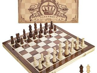 Amerous 15 Inches Magnetic Wooden Chess Set   2 Extra Queens   Folding Board  Handmade Portable Travel Chess Board Game Sets with Game Pieces Storage Slots   Beginner Chess Set for Kids and Adults