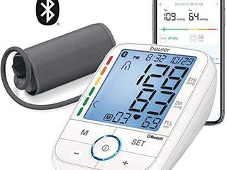 Beurer BM67 Upper Arm Blood Pressure Monitor  large Cuff  Automatic   Digital  Xl lCD Display  Bluetooth with App  Home Use BP Machine Kit   Patented Technology  White