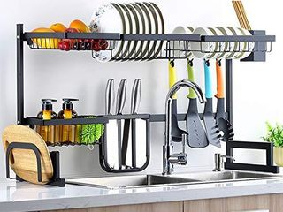 Sincalong Over Sink Dish Singalong Stainless Steel Kitchen Drainer Drying  Sturdy Storage Shelf  Tableware Rack  length Adjustable 33  to 40  l  Black