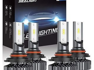 SEAlIGHT 9006 HB4 9005 HB3 lED Headlight Bulbs High low Beam  Combo Package CSP led Chips Hi lo lights   6000K White Pack of 3