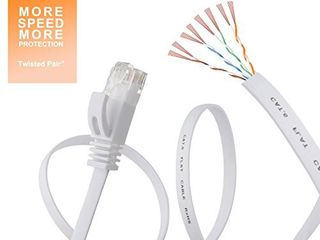 Cat 6 Ethernet Cable 100 ft Flat White  Slim long Internet Network lan patch cords  Solid Cat6 High Speed Computer wire with clips   Rj45 Connectors for Router  modem  faster than Cat5e Cat5  100 feet