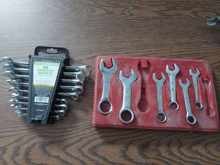 9 Pc Combination Wrench Set and Partial Stubby Wrench Set