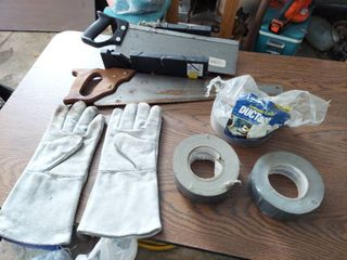 Saws  leather Gloves and Duct Tape