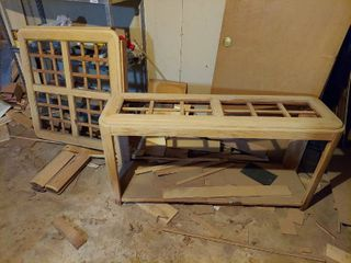 Oak Sofa Table and Coffee Table   Missing Glass   Has Been Sanded  to be Refinished