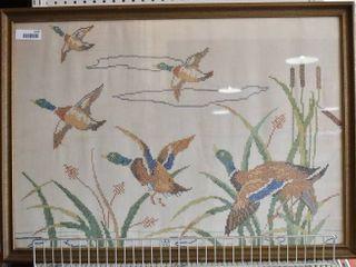Ducks in Flight   Cross Stitch   G l H 1942   Vintage Wood Frame   26  x 36