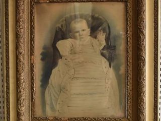 Baby in Baptismal Gown   Photo Portrait   Antique Molded Wood Frame   26 5  x 30 5