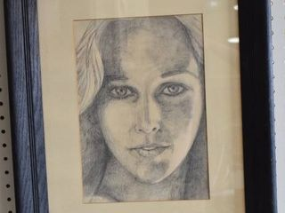 Portrait of Young Woman   Pencil Sketch   Black Wood Frame   17 5  x 21 5