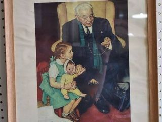 Tender loving Care   lithograph   Norman Rockwell   Wood Frame   17  x 20 5