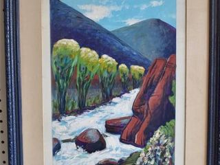 Near Redstone Colorado   Acrylic   Gary Carson   Vintage Wood Frame   18 25  x 22 25
