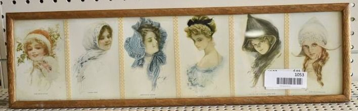 Set of 6 lady s Portraits   Postcards   Harrison Fisher   Vintage Gold Wood Frame   6  x 21 75