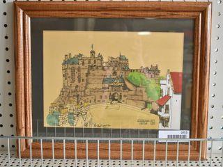 Edinburgh Castle   Pen and Inc Hand Colored   Signed   Wood Frame   13 5  x 16 5