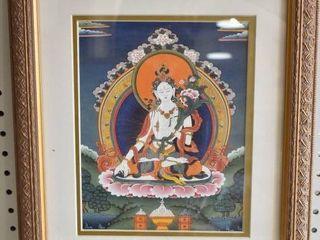White Tara thangka   Print   Gold Tone Wood Frame   13 25  x 16 25