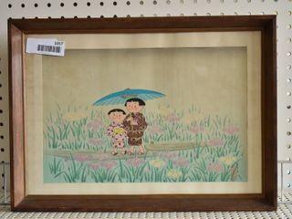 Spring Rain   Wood Block Print   Signed   Vintage Wood Frame   13  x 17 75