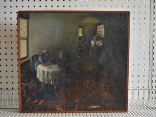 Women in Interior Scene   Oil on Board   Wood Frame   16  x 14 5