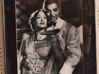 Clark Gable and Joan Crawford   Black and White Print   Silver Metal   21 25  x 25 25