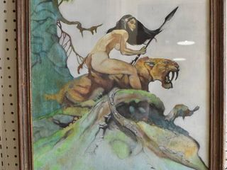 Girl From lost World   Acrylic on Canvas   Jack lee Stebbins 1978   Vintage Wood Frame   20 5  x 26 5