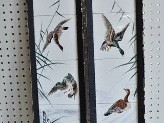Ducks in the Reeds   Painted Tiles   Vintage Wooden Frames   7 5  x 25