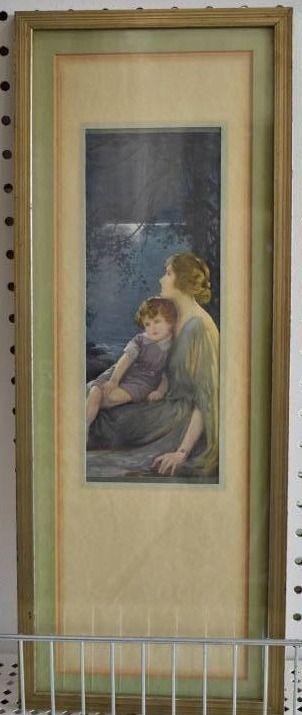 Reverie   lithograph   Victorian Era   Gold Tone Wood Frame   8  x 20 5