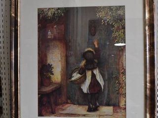 little Girl at the Door   Print   Marbled Wood Frame   25  x 31